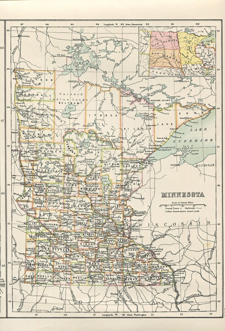 Old state map of Minnesota