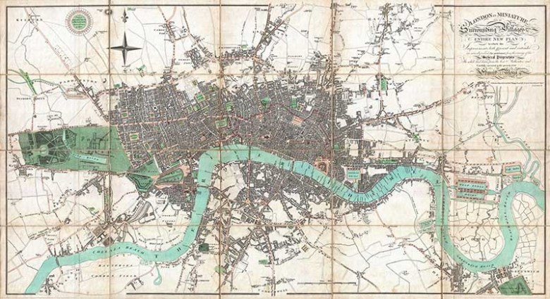 1806 Mogg Pocket Map of London Free to download