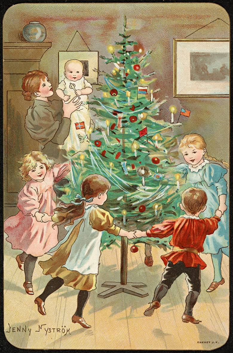 Dancing around the Christmas tree vintage Christmas card