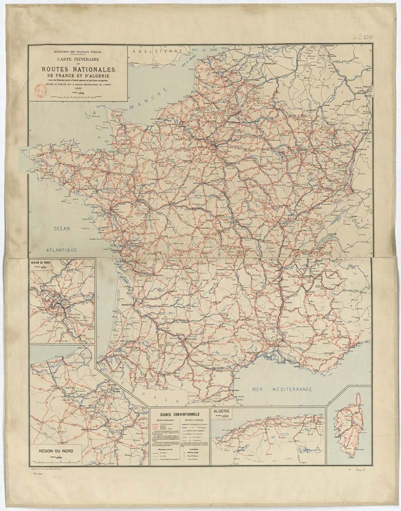 1922 Road Map of France and Algeria