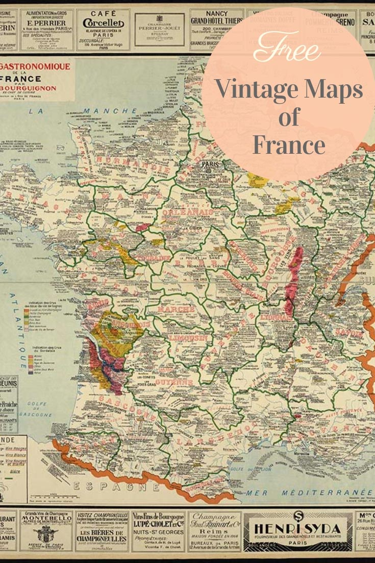 FREE printable vintage maps of France