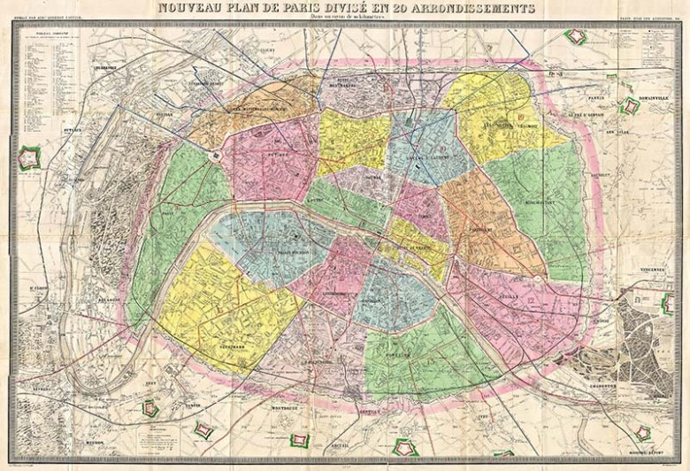 An antique map of Paris showing the 20 districts in colour. 1878