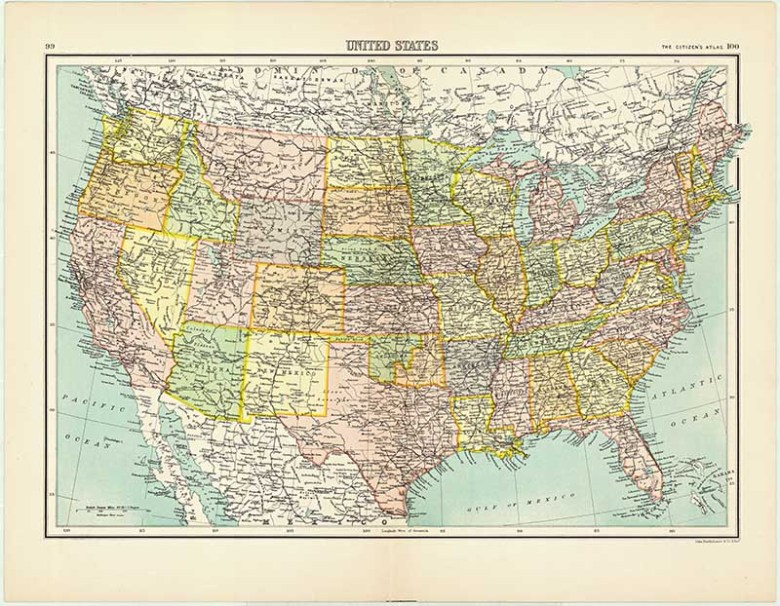 898 Map of the United States from Bartholomew's Citizen Atlas of the World.