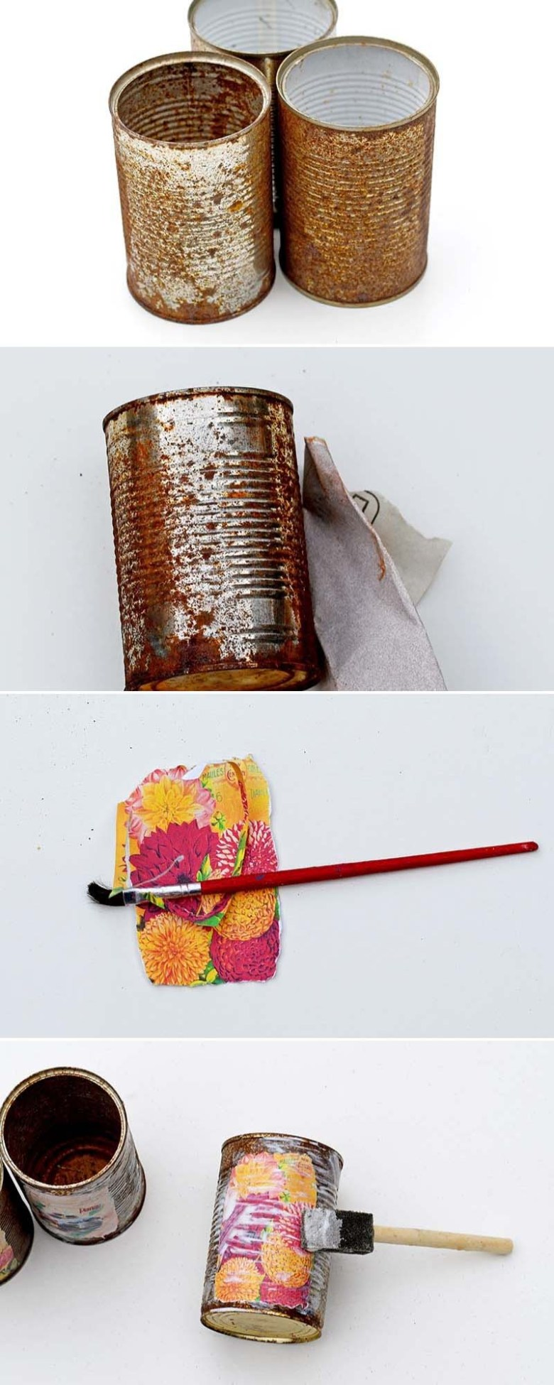 Decoupaging tin cans with vintage flower seed packet labels