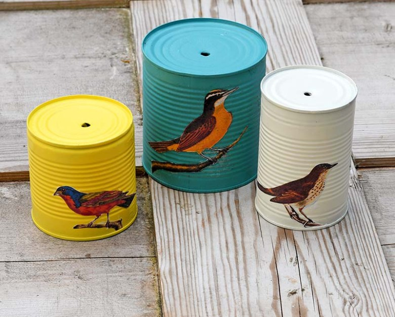 songbird images decoupaged on to the tin cans