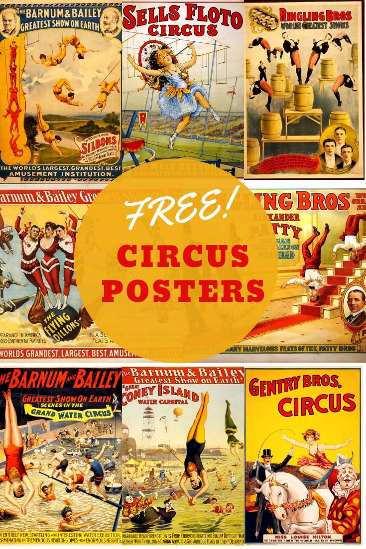 photo regarding Free Printable Vintage Posters named Printable Do it yourself Typical Circus Or Carnival Topic Drinking water