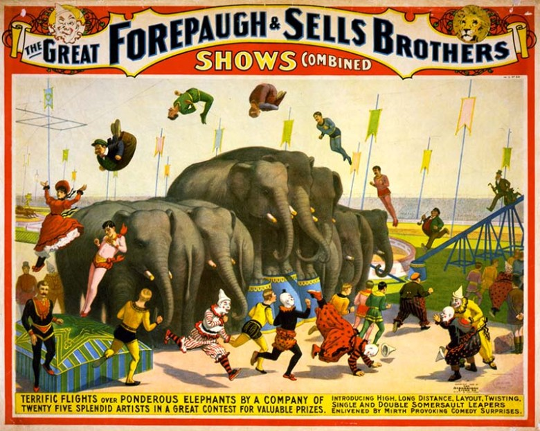 Acrobats leaping over an elephant circus poster