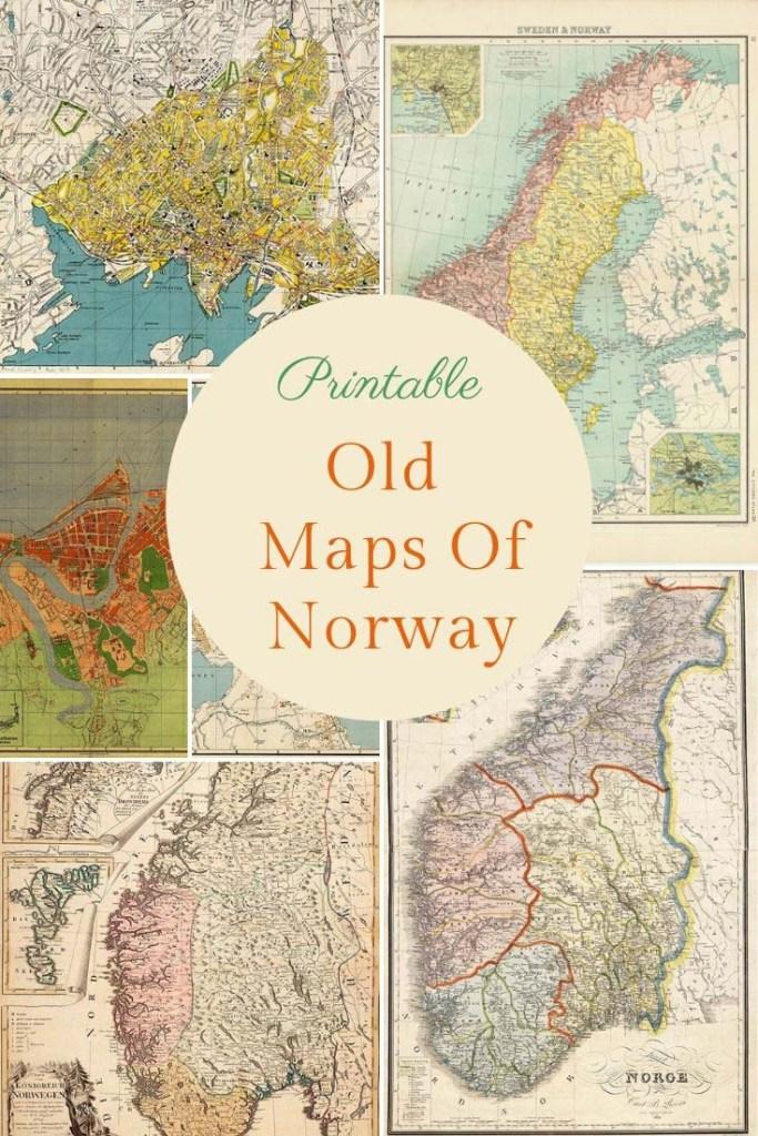 vintage maps of Norway to print
