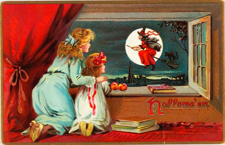 1880 Halloween card with witch