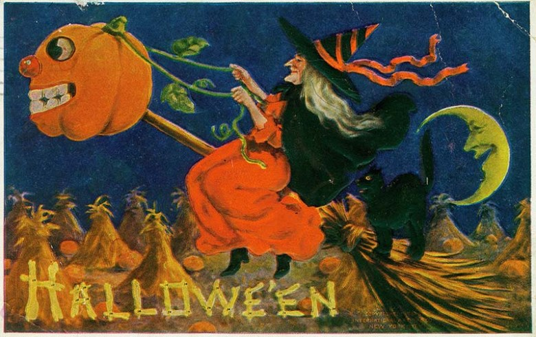 A Witch riding a broomstick being pulled by a jack-o-lantern with a black cat