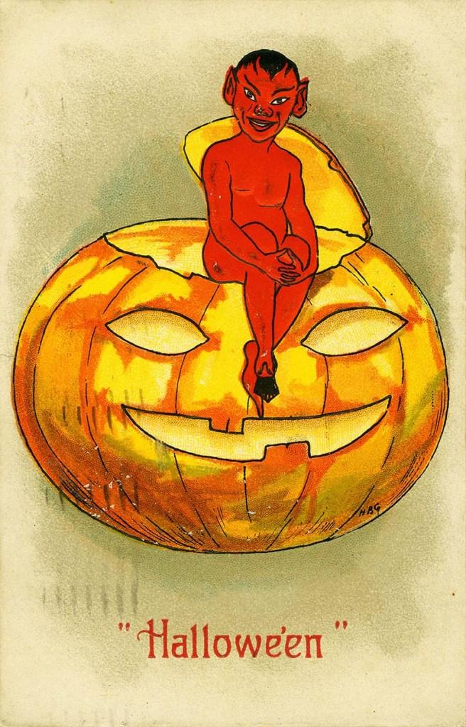 devil on a Jack-O-Lantern postcard