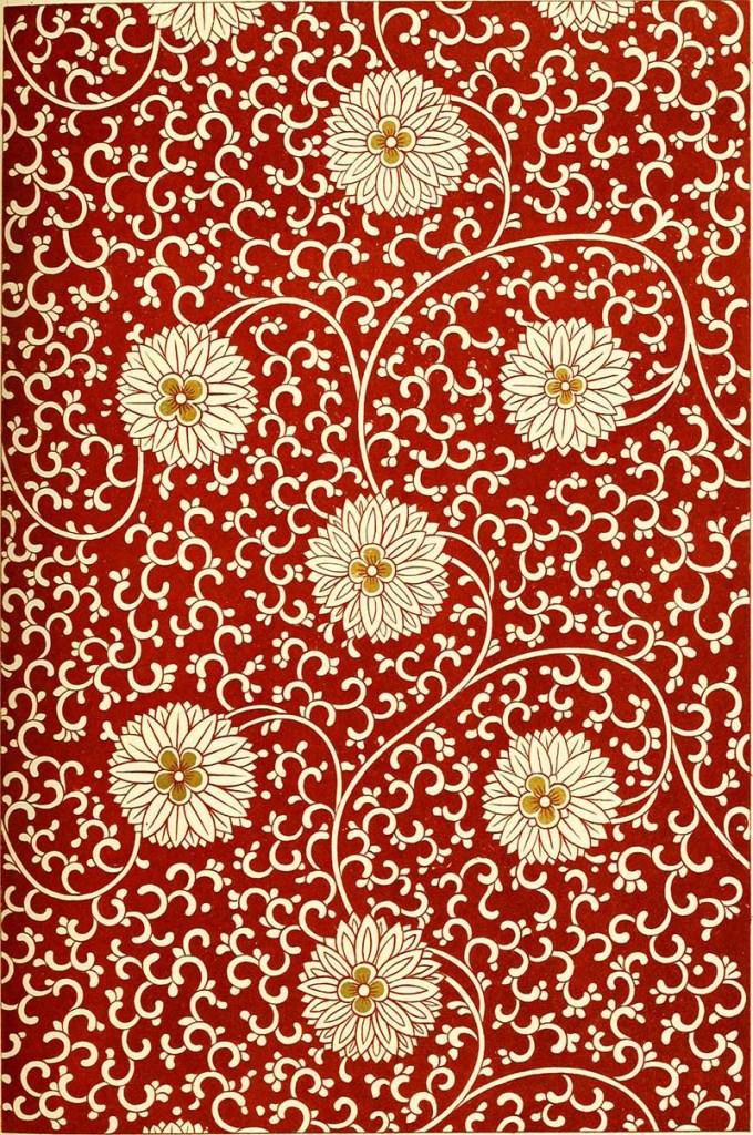 white Chrysanthemum on red pattern