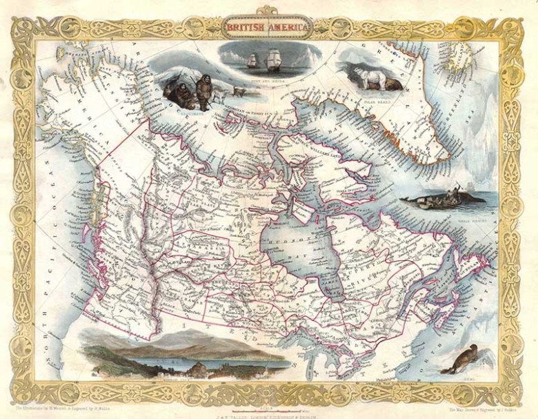 1849 old map of Canada