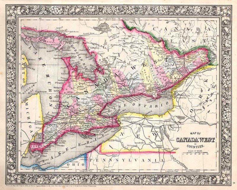Old map Ontario Canada
