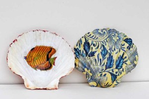 Decoupage shell dish