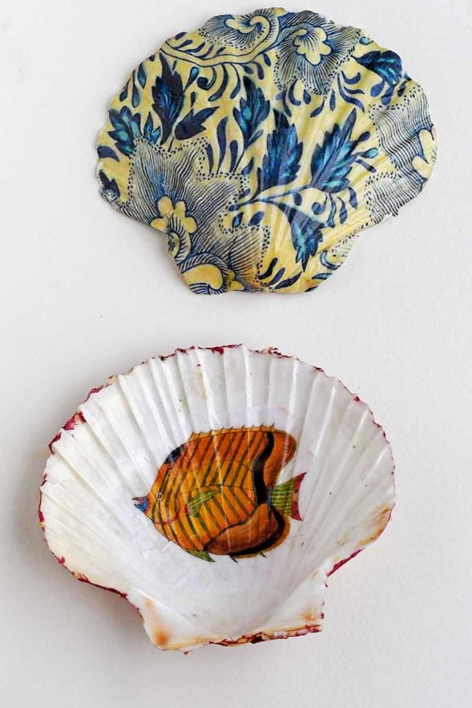 decoupage shell dish