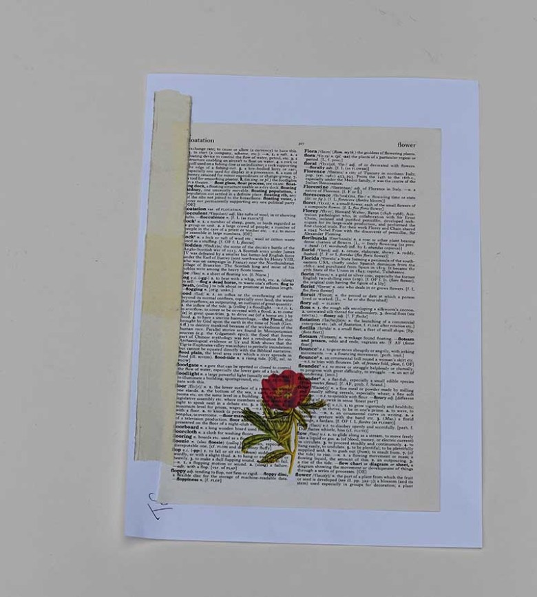 printed peony on dictionary paper