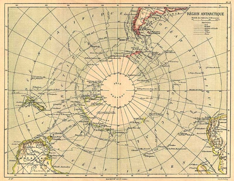 1890 Hachette Map of Antarctica