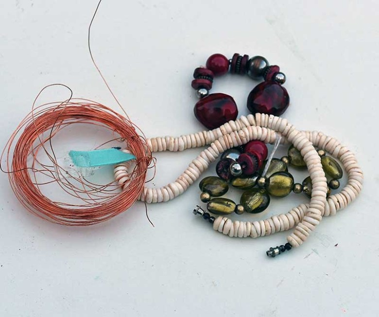 old beads and jewelry wire
