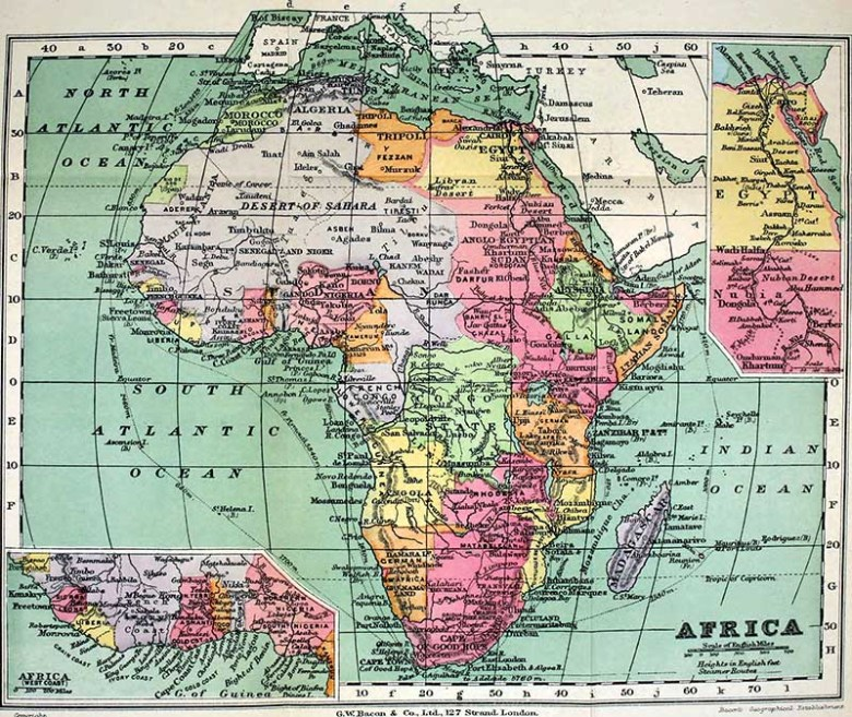 1913 vintage map of Africa
