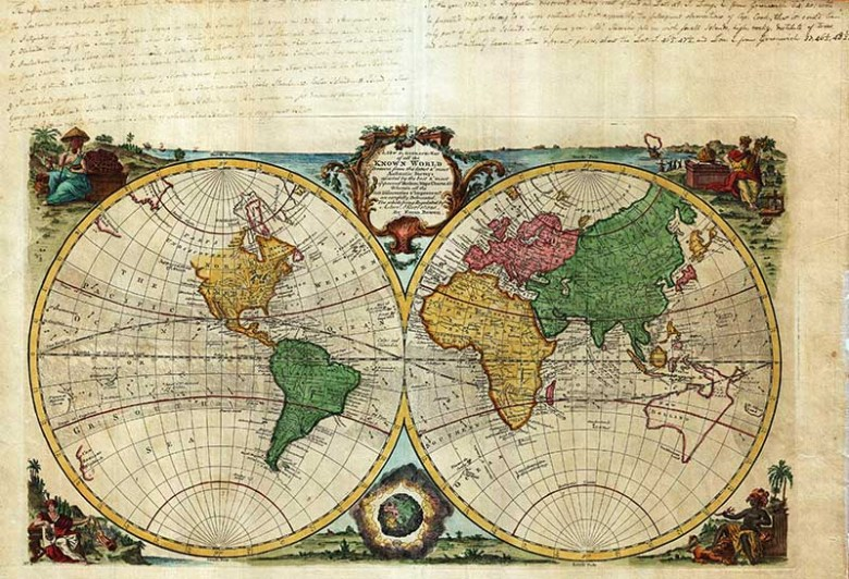 Bowens double hemisphere maps of the world.
