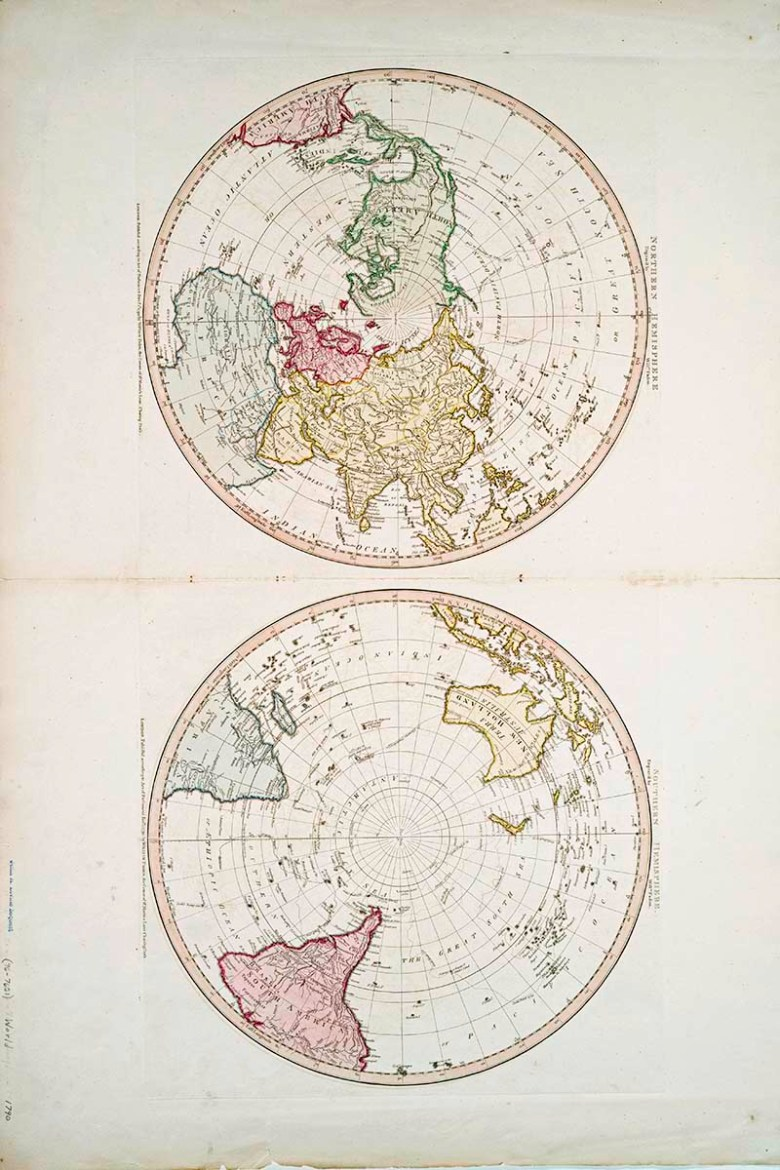 Northern Southern Hemisphere maps 1790