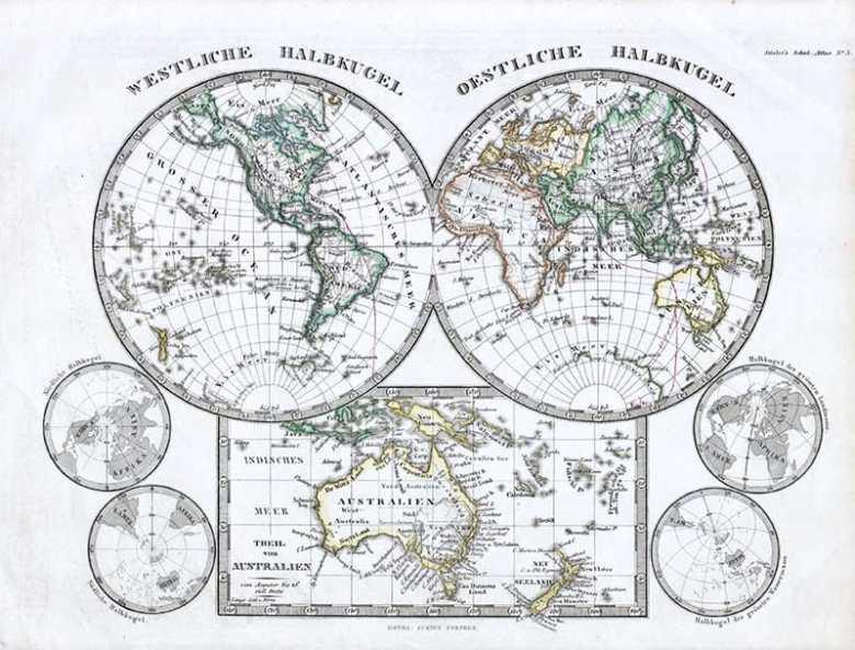 1862 Stieler Hemisphere Map of the World