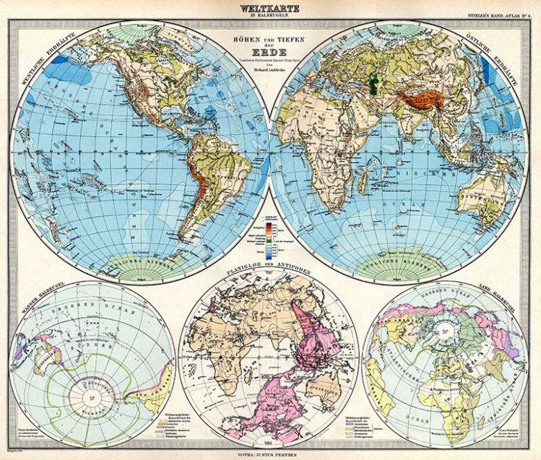 Adolf Stielers map of the world in Hemispheres