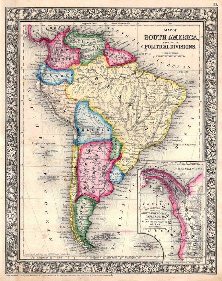 1864 mitchell Map of South America