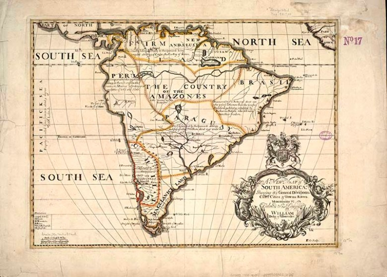 1700 New Map of South America