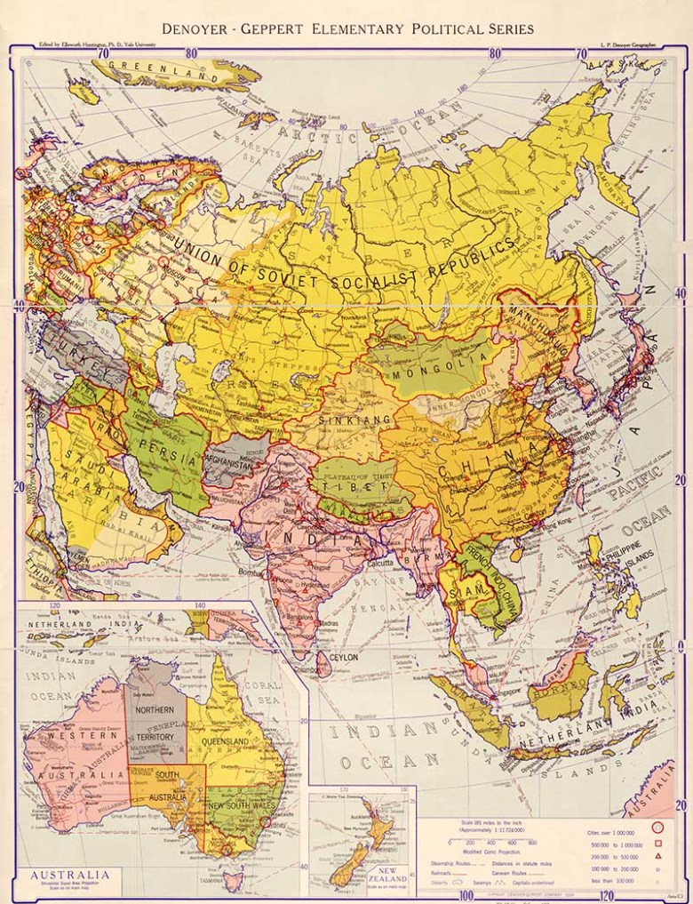 1934 Political map of Asian continent