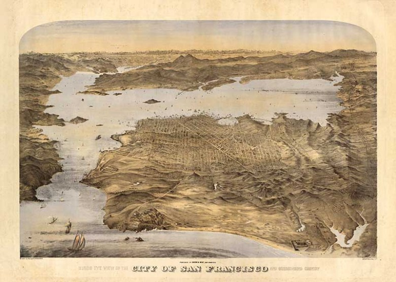 1868 birds eye view map of San Francisco bay area