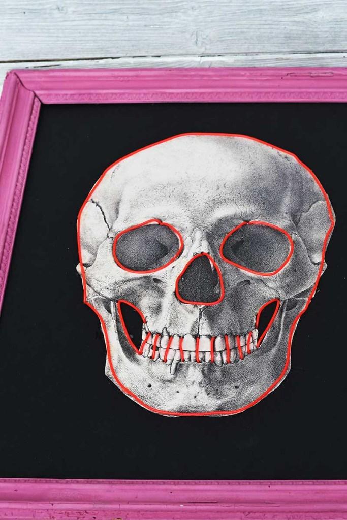 ading neon el wire to skull print