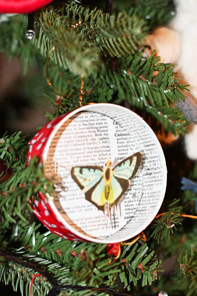 Upcycled butterfly ornament