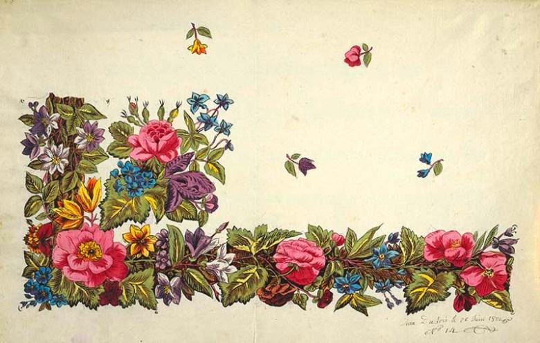 Vintage Floral pattern border design, pink pansies, blue bells, green leaves