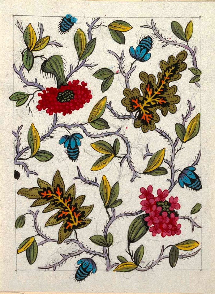 Multi-colored floral and leaf pattern.