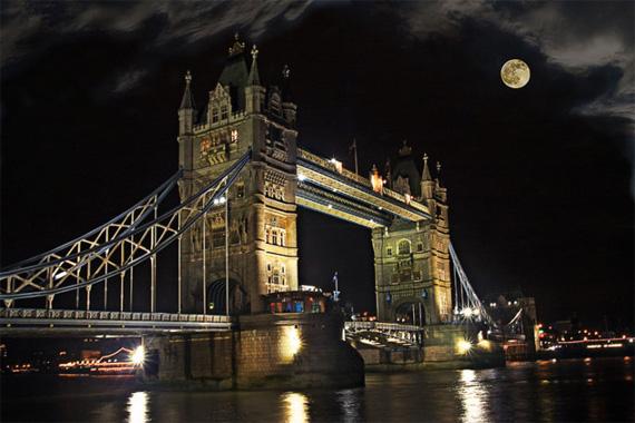 bridge with moon
