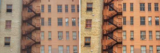 before after orange building cityscape