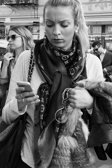 black and white cell phone street photo