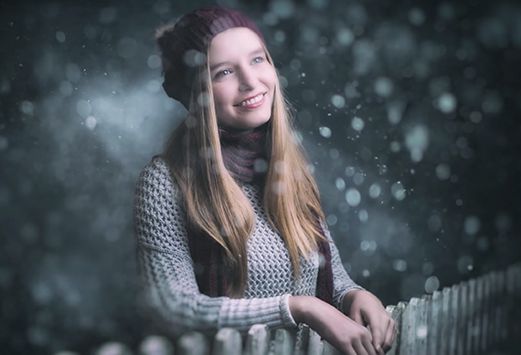 Snow portrait with fence piece