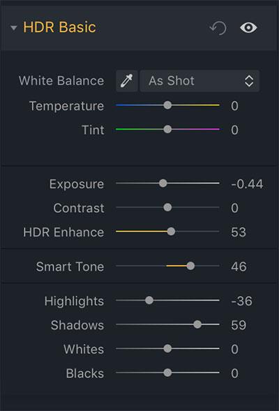 aurora hdr basic options