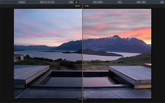 hdr before and after view