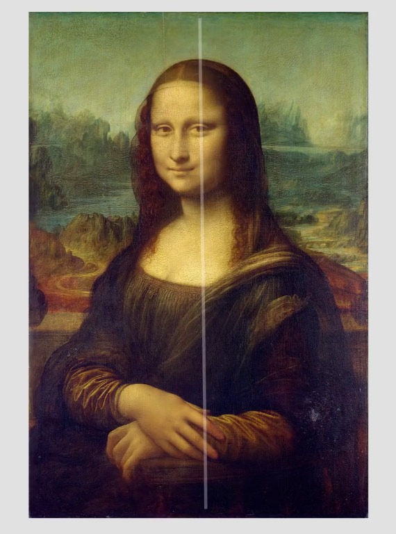 mona lisa with center eye composition