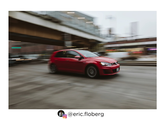 panning image of a car