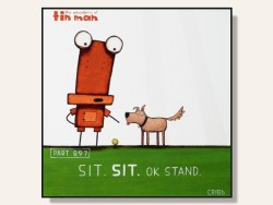 Sit Sit OK Stand by Tony Cribb Box Framed Artcard