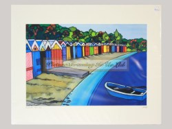 Boatsheds Titahi Bay Matted Print by Jo May