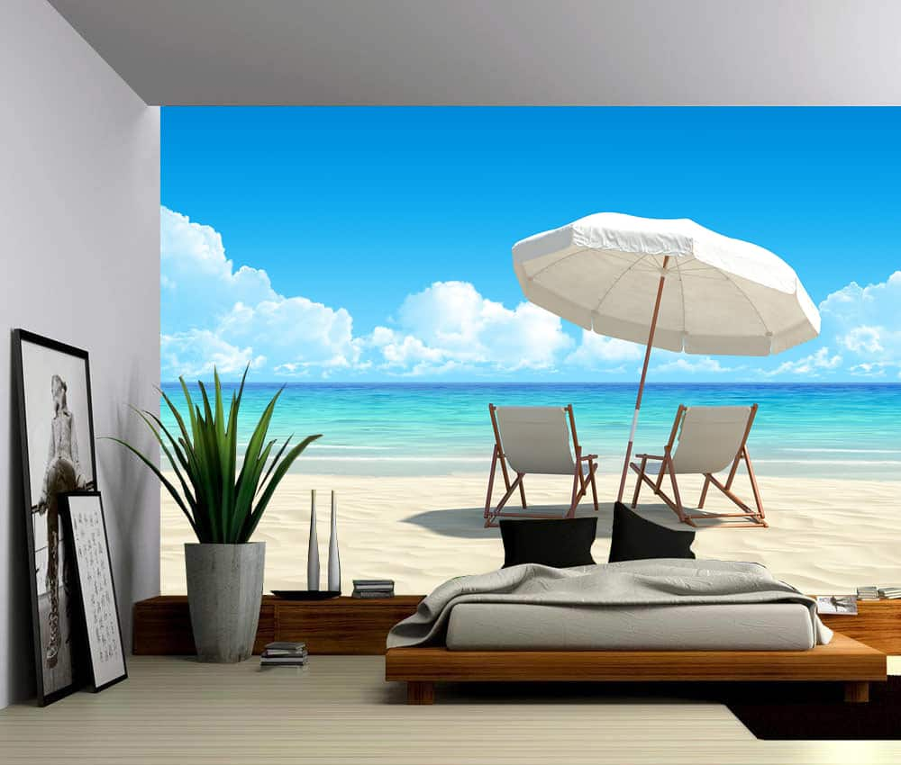 Seascape Blue Sky Beach Chairs Self Adhesive Vinyl Wallpaper Peel Amp Stick Fabric Wall Decal