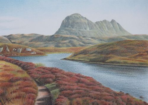 Suilven from the Kirkaig Falls Path - Scotland Landscape Painting