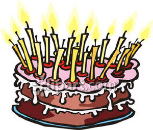 Birthday Cake With Lots Of Candles Royalty Free Clipart