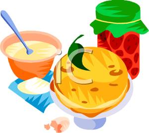 Pancakes With Jam and Honey - Royalty Free Clipart Picture